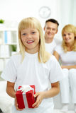 Girl with gift Stock Photo