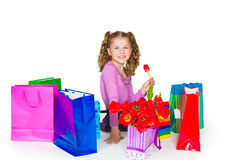 The girl and gift Stock Photos
