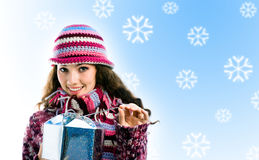 Girl with a gift Stock Photo