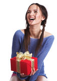 The girl with a gift stock photos