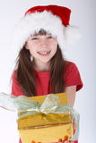 Girl with a gift Royalty Free Stock Photo