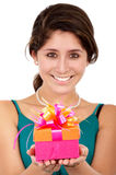 Girl with a gift Royalty Free Stock Photography