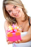 Girl with a gift Royalty Free Stock Images