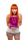 Girl with a gift bag Stock Photography
