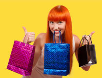 Girl with a gift bag Royalty Free Stock Photography