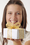 Girl with gift box Royalty Free Stock Photo