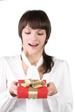 Girl with gift box Stock Images