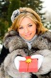 Girl and gift box royalty free stock photos