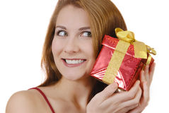Girl with gift box Stock Photos
