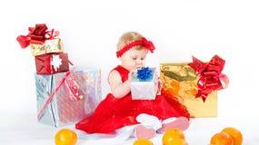 Girl and gift box Stock Photo