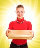 Girl with a gift box Royalty Free Stock Image
