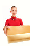 Girl with a gift box Stock Images