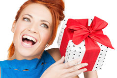 Girl with gift box Stock Image