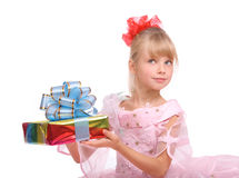Girl with gift box. Isolated Stock Photo