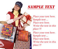 Girl with gift box and bag.Template. Royalty Free Stock Images