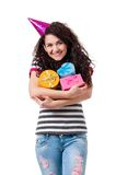 Girl with gift box Stock Image