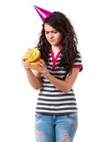 Girl with gift box Royalty Free Stock Image