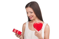 Girl with gift box. Stock Images