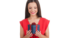 Girl with gift box. Stock Photo
