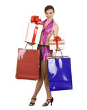 Girl with gift box and bow. Stock Photos