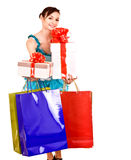 Girl with gift box and bow. Royalty Free Stock Photography