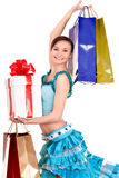 Girl with gift box and bow. Stock Photography