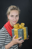 Girl with gift-box Stock Image
