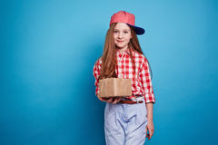 Girl with a gift box Royalty Free Stock Photo