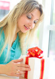 Girl with gift box. Picture of beautiful girl with gift box Stock Photography