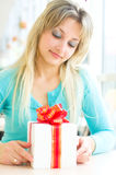 Girl with gift box. Picture of beautiful girl with gift box Royalty Free Stock Photo