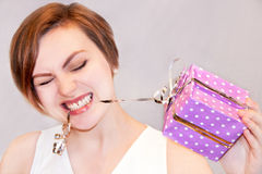 Girl with gift box. stock photography
