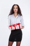 Girl with gift box Stock Photos