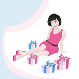 Girl and gift box Stock Images