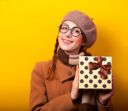 Girl with gift box Royalty Free Stock Photos