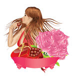 Girl with gift box and roses Royalty Free Stock Image
