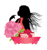 Girl with gift box and roses Stock Image