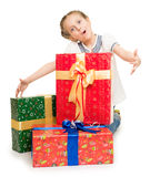 Girl with gift boxes Royalty Free Stock Photos
