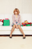 Girl with gift boxes Royalty Free Stock Photography