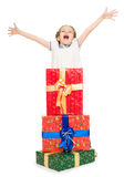 Girl with gift boxes Royalty Free Stock Images