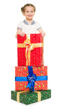 Girl with gift boxes Royalty Free Stock Photo