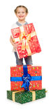 Girl with gift boxes Stock Photos