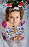 Girl with gift Stock Images