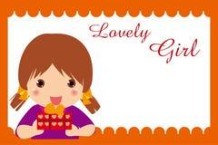 Girl  gift frame. Illustration of girl gift frame Royalty Free Stock Image