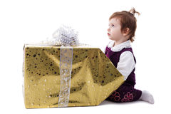 Girl with gift isolated Royalty Free Stock Photo
