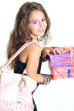 Girl and gift Stock Photos