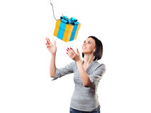 Girl with a gift Stock Images