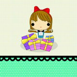 Girl with gift. Lovely girl with a lot gift on paper line and dot vector illustration