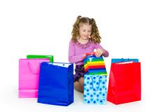 The girl and gift Stock Photo