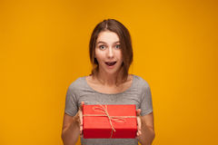 Girl and a gift Royalty Free Stock Image