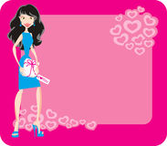 Girl with gift for Valentine's Day. Pretty girl is holding gift for Valentine's Day on pink backgraund Royalty Free Stock Photos